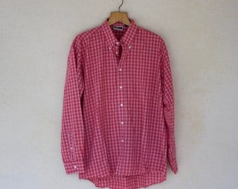 Red And White Gingham Check Shirt - Size Extra Large