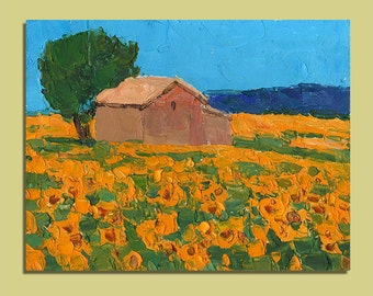 Original Oil Painting Provence Painting Sunflower Painting Landscape French Home Decor Palette Knife Painting Art Gift Anniversary Gift