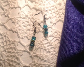Small earrings, glass crystal, turquoise