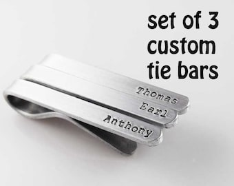 tie clip custom tie bar set of 3 men accessories hand stamped groomsmen wedding gift silver aluminum tie clips