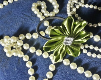 Apple Green Satin Fabric Flower Hair Tie