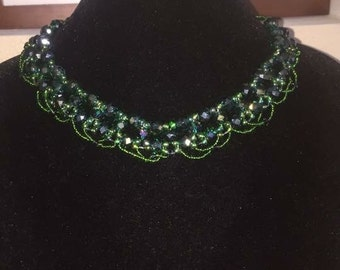 Handmade Green Crystal Style Bead Necklace