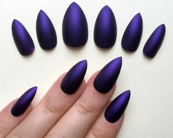 A set of hand painted false nails. Full cover. Gorgeous deep matte purple. NEW