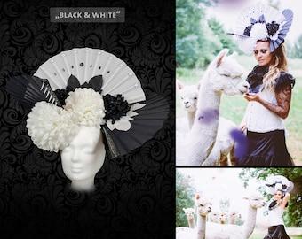Headdress 'Black & white' flower head dress