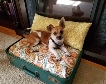 Vintage Suitcase Travel Pet Bed - Medium (Green w/ Floral Fabric)