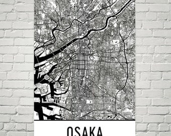 Osaka Map, Osaka Art, Osaka Print, Osaka Japan Poster, Osaka Wall Art, Osaka Gift, Map of Osaka, Osaka Poster, Osaka Decor, Osaka Map Art