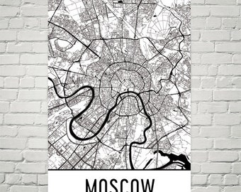Moscow Map, Moscow Art, Moscow Print, Moscow Russia Poster, Moscow Wall Art, Moscow Gift, Map of Moscow, Moscow Decor, Modern, Art Print