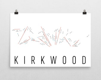 Kirkwood Ski Map Art, Lake Tahoe, Kirkwood California, Kirkwood Trail Map, Lake Tahoe Art, Lake Tahoe Map, Ski Gifts, Ski Decor, Ski Print