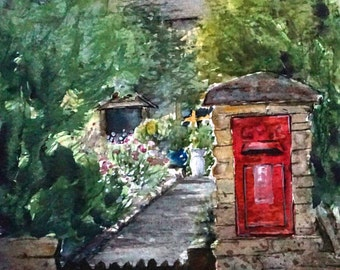 "Framed original watercolour painting/landscape/English cottage/cotswolds/""Red postbox"""
