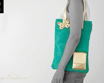 Tote bag, Handmade, Green Handbag, Turquoise, City Bag, Shopping Bag, Unique, Colortherapy collection, Bags & Purses!