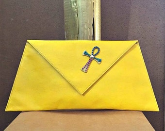 Limited edition, Clutch bag, Handmade, Envelope Clutch, Yellow Clutch, Cross buckle with czech crystals!
