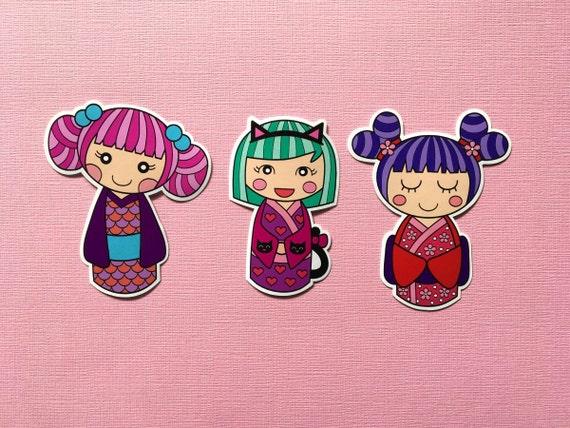 Cute Kawaii Kokeshi Dolls Vinyl Stickers