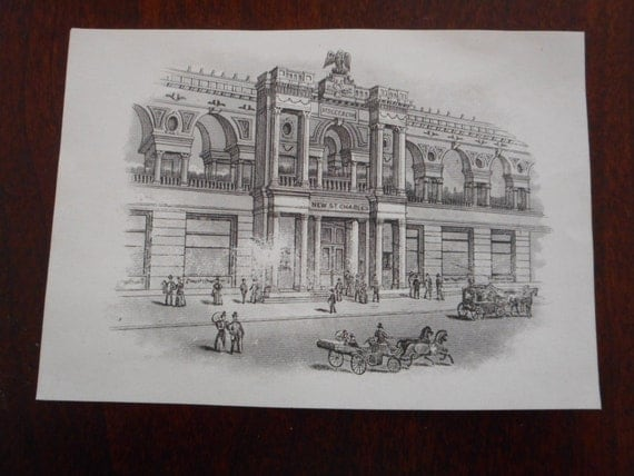 SALE 30% OFF Small Engraving or Etching Print of a Factory or Industrial Town in Good Condition!