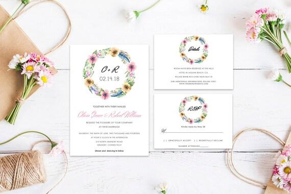 Floral wedding invite word_35,INSTANT DOWNLOAD, Editable Wedding template invitation. Microsoft Word template.Wedding Printable
