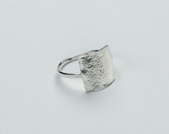 Sterling Silver Textured Square Shield Ring