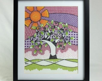 Summer Tree Blackwork Embroidery Kit