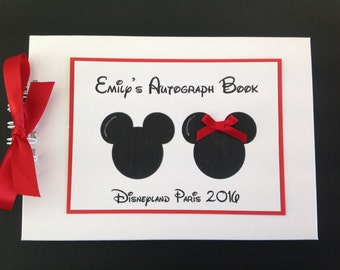 Personalised DISNEYLAND - DISNEY WORLD - Autograph Book - Scrapbook - Memories Book - Photo Book - More Characters Available