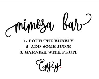 Mimosa Bar Sign Bridal Shower Wedding Download *Easy- Download and Print*