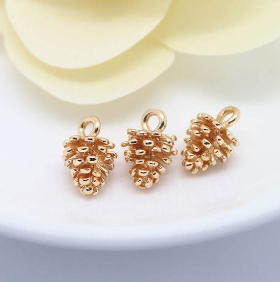 10pcs copper rose gold plated pinecone bracelets pendant for Does gold plated jewelry fade