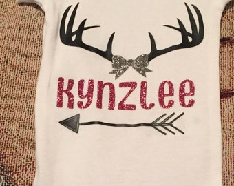 Onsie Deer Antlers with name monogrammed