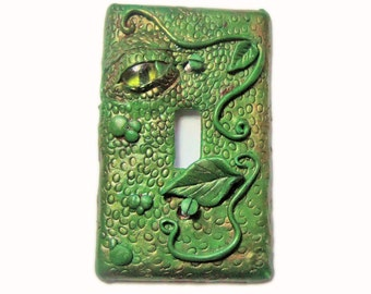 Decorative  Switch Plate Cover -  Green Dragon Eye Light Switch - Polymer Clay Switch Plate Cover - Boys Room- Man Cave