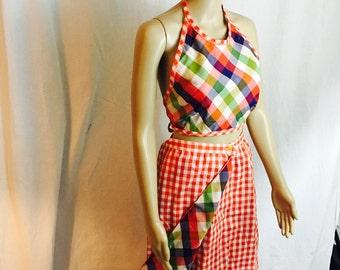 "1970's Reversible Maxi Skirt And Halter Top. 29"" Waist."