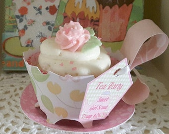 tea cup 12 personalized cupcake wrappers