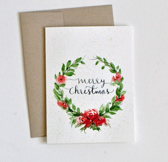 Hand Painted Watercolor Christmas Card Watercolor Flowers