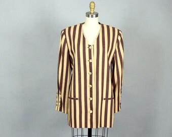 1980s striped blazer . long womens blazer . brown and tan vertical stripe jacket . 80s jacket . medium / large