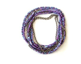vintage 1960s flapper style necklace . purple plastic bead and long chain double strand necklace . 60s does 20s necklace