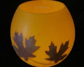 Maple leaf art-Pressed Maple leaves-Beeswax Lantern-Wax luminaries-Beeswax Bowl candle