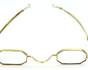 18k Gold Victorian Eyeglasses with Adjustable Arms on Frame