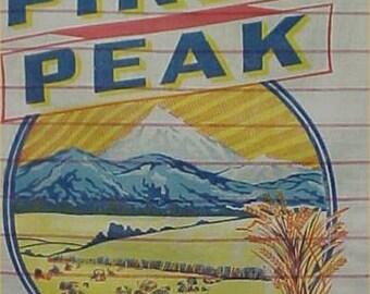 BEST 1940s Era Vintage Flour Mill Sack Dodge City Kansas Pikes Peak LOGO 25 LB