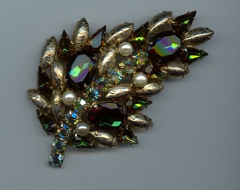 Large 1950's Brooch with Unusual Stones