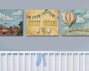 Circus Nursery Playroom 8x10 Printables Set of 3 Hot Air Balloon Tent Bunting Wall Art Decor