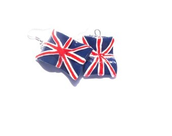 Earrings UNION JACK, handmade, polymer clay, handpainted by The Sausage