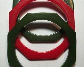 Three Vintage Bakelite Octagonal Spacer Bangles