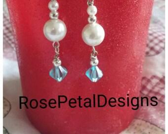 Pearl swarovski drop earrings