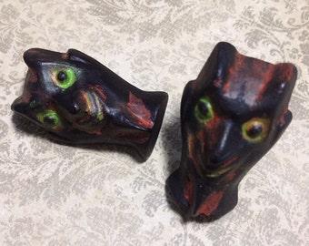 DEVIL Head Ring OR Brooch  -Novelty Kitsch Primitive Rustic Salem Vintage Inspired Antique - Resin Hand Painted