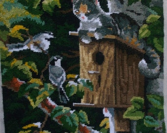 Vintage Cat on a Birdhouse Handmade Needlepoint picture // Wall Hanging or pillow cover