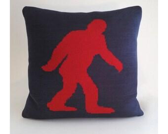 Bigfoot Sasquatch Pillow - Loom Knit Cotton/Linen - Navy Blue & Red