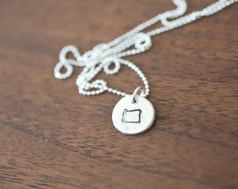 Tiny Oregon Necklace Silver Oregon Necklace State Charm State Necklace OR Small State Charm Oregon Charm Oregon Necklace