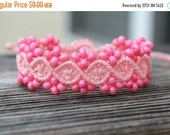 FLASH SALE Micro-Macrame Beaded Bracelet - Bubblegum