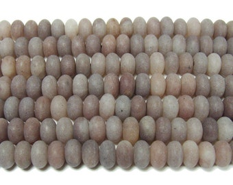 Purple Aventurine Matte Rondelle Gemstone Beads