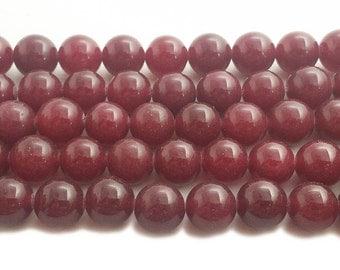 Deep Ruby Red Jade Round Gemstone Beads