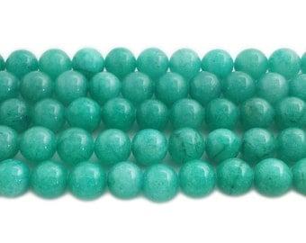 Sea Green Jade Round Gemstone Beads