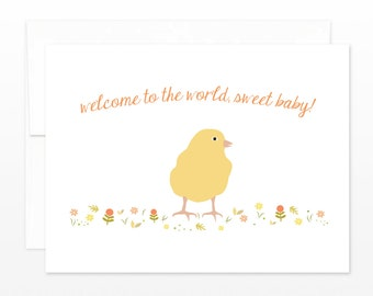 SALE Cute New Baby, Baby Shower, New Parents Card - Spring Chick