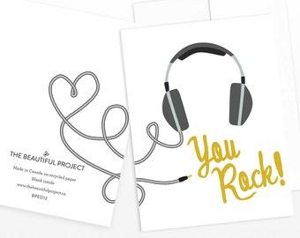 Graduation, Congratulations, Friend, Thank You Card - You Rock Headphones