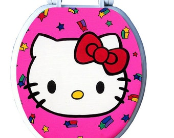 Hello Kitty Hand Painted Toilet Seat by Debbie Is Adopted Bathroom Remodel Wall Art Decor Kids Girls