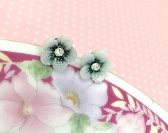Flower Girl Earrings, Rhinestone Flower Earrings, Black Flower Studs, Tiny Daisy Studs, Black Daisy Earrings (LB3)